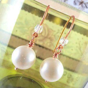 Satin Copper Pearl Earrings